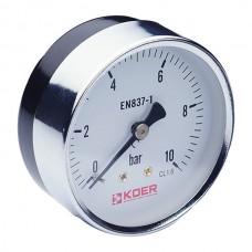 """Манометр аксіальний (KM.611A) (0-10 bar), D=63мм, 1/4"""" (KR0212)"""