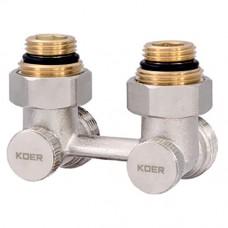 """Вузол нижнього підключення радіатора 3/4"""" кутовий (комплект) KR.1132 (KR2816)"""