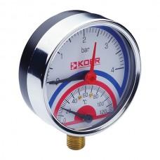 Термо-манометр радиальный (KOER KM.821R) (0-4 bar), D=80мм, 1/2'' (KR0213)