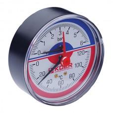 """Термо-манометр аксіальний (KOER KM.802A) (0-6 bar), D=80мм, 1/2"""" (KR0223)"""