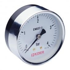 """Манометр аксіальний (KM.611A) (0-4 bar), D=63мм, 1/4"""" (KR0210)"""