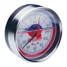 """Термо-манометр аксіальний (KOER KM.812A) (0-6 bar), D=80мм, 1/2"""" (KR0220)"""