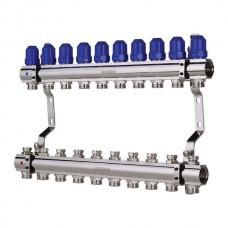 """Колекторний блок з термостатичними клапанами KOER KR.1100-10 1""""x10 WAYS (KR2636)"""