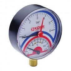 """Термо-манометр радіальний (KM.801R) (0-6 bar), D=80мм, 1/2"""" (KR0218)"""