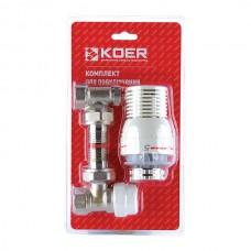 """Комплект для підключення радіатора 1/2"""" (кутовий) з термоголовкою KOER KR.1320 (KR2658)"""