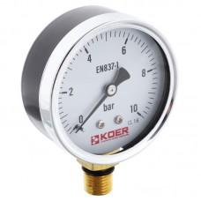 """Манометр радіальний KOER KM.610R D=63мм (0-10 bar) 1/4"""" (KR2902)"""