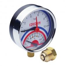 """Термо-манометр радіальний (KM.821R) (0-10 bar), D=80мм, 1/2"""" (KR0215)"""