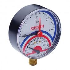 """Термо-манометр радіальний (KOER KM.801R) (0-4 bar), D=80мм, 1/2"""" (KR0217)"""