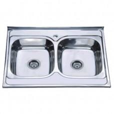 Кухонна мийка накладна ZERIXZ8060B-08-180E (satin) (ZX1620)