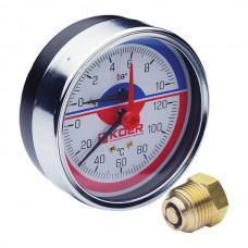 """Термо-манометр аксіальний (KOER KM.812A) (0-10 bar), D=80мм, 1/2"""" (KR0219)"""