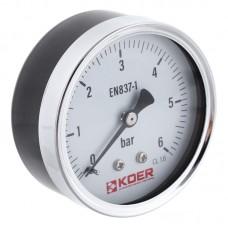 """Манометр аксіальний KOER KM.611A D=63мм (0-6 bar) 1/4"""" (KR2901)"""