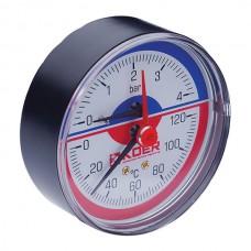 """Термо-манометр аксіальний (KOER KM.802A) (0-4 bar), D=80мм, 1/2"""" (KR0222)"""