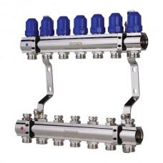 """Колекторний блок з термостатичними клапанами KOER KR.1100-07 1""""x7 WAYS (KR2633)"""